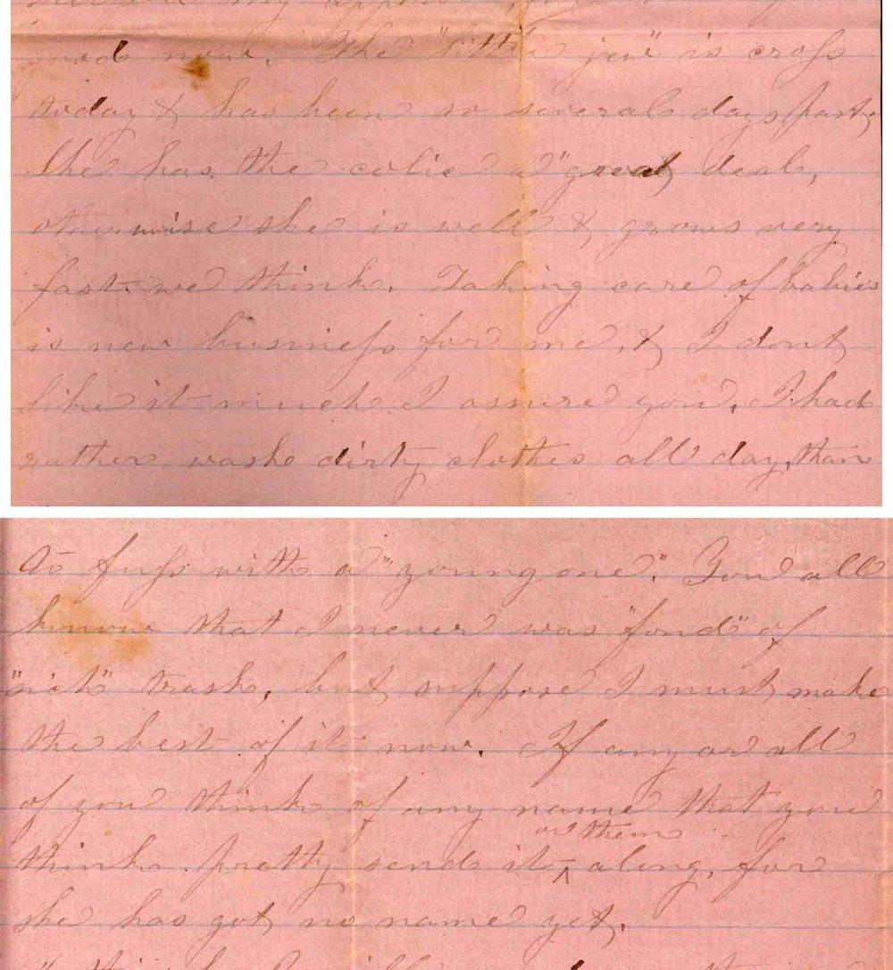 An excerpt from a handwritten letter on pink paper